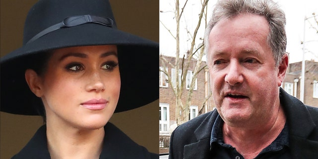 Piers Morgan (right) took to Twitter where he responded to Gayle King's comments about Meghan Markle (left).