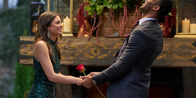 Matt James eventually elected to offer his final rose to Rachael Kirkconnell, who accepted. (ABC/Craig Sjodin)