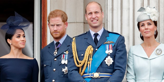 From left to right: Meghan Markle, Prince Harry, Prince William and Kate Middleton.  Middleton found that Markle and Harry's recent revealing interview was