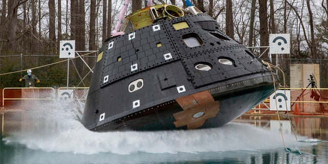 The first drop test for the latest Orion model capsule of March 23, 2021. Testing was done from the height of 18 inches in splash impact basin at NASA Langley.