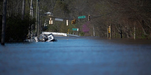 Flooding from the Harpeth River on Sunday in Nashville. (Reuters)