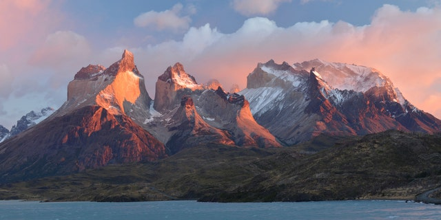 The Chilean Andes at Torres del Paine National Park, Chile, are pictured.