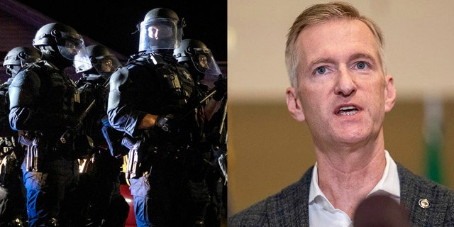 Restoring the Portland Police Bureau's ability to deal with gun violence is a focus of a new funding proposal by Portland Mayor Ted Wheeler, right.