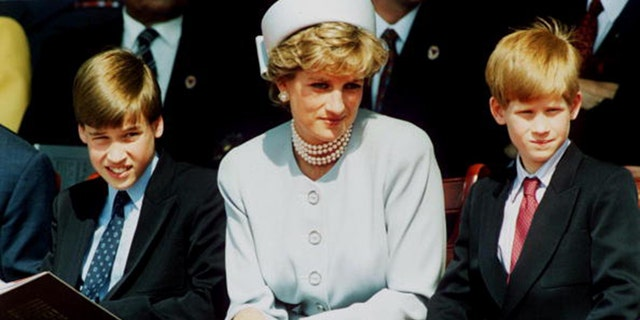 (FILE PHOTO) Princess Diana, Princess of Wales with her sons Prince William and Prince Harry attend the Heads of State VE Remembrance Service in Hyde Park on May 7, 1995 in London, England.  (Photo by Anwar Hussein/Getty Images)