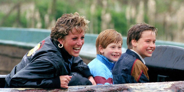 Princess Diana with her sons Prince Harry and Prince William.