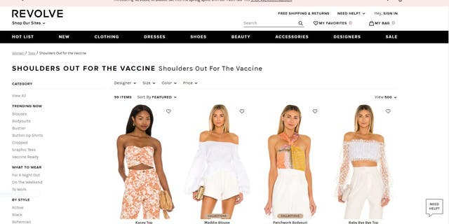 "The ""Vaccine Ready"" section of Revolve.com's tops for sale."