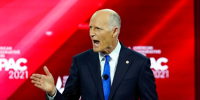 Sen. Rick Scott, R-Fla., at the Conservative Political Action Conference on Feb. 26, 2021, in Orlando, Florida. (AP Photo/John Raoux)