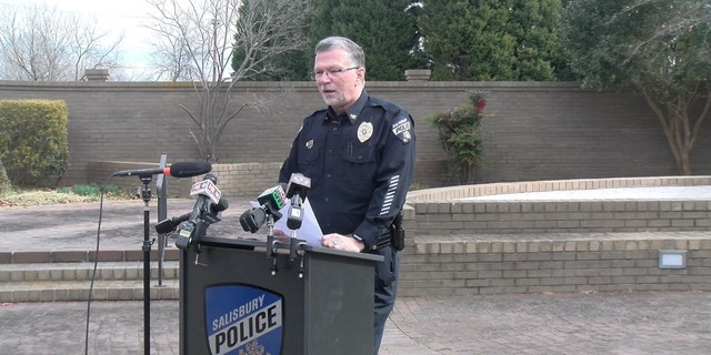 Salisbury Police Chief Jerry Stokes speaks about the incident during a news conference Tuesday. (Salisbury Police Department0