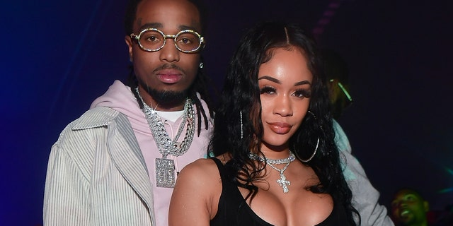 Quavo, left, and Saweetie have called it quits amid allegations the Migos rapper cheated. (Photo by Prince Williams/Wireimage)