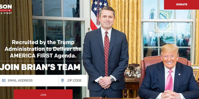 Brian Harrison, the former chief of staff of the Health and Human Services (HHS) department during the Trump Administration, announces his bid for the vacant U.S. House seat in Texas' 6th Congressional District, on March 1. 2021. Harrison highlights a photo of himself with then-President Trump on his campaign website.