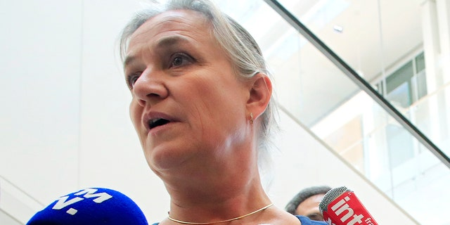 In this Monday, Sept. 23, 2019 file photo, Doctor Irene Frachon, who discovered that the drug Mediator could have fatal side effect, speaks to reporters as she arrived at a Paris courthouse. (AP Photo/Michel Euler)