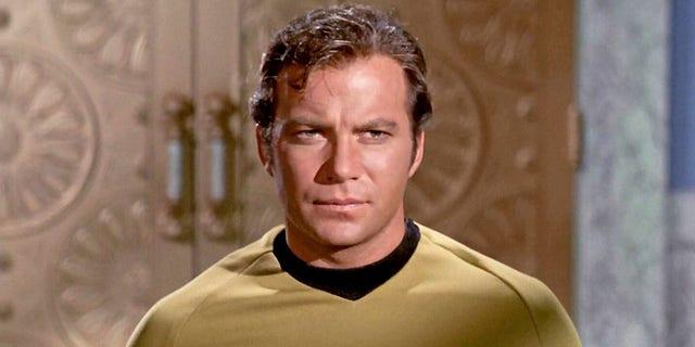 William Shatner as Captain James T. Kirk in a November 1968 episode of 'Star Trek.'