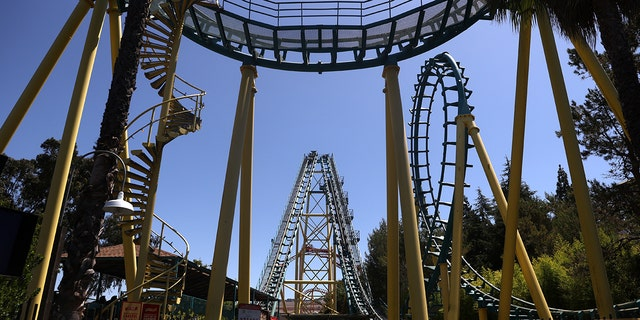 California's guidance for the state's theme parks — such as Six Flags Discovery Kingdom in Vallejo, California — permits reopening on April 1, provided the surrounding county meets a specific tier for decreased positivity rates. (Justin Sullivan/Getty Images)