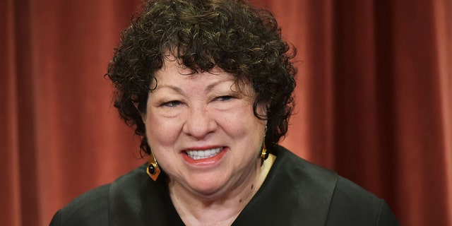 Associate Justice Sonia Sotomayor poses in the official group photo at the US Supreme Court in Washington, DC on November 30, 2018. Sotomayor lead the dissent to a Thursday Supreme Court decision striking down a California law that required nonprofits to disclose their largest donors to the state.