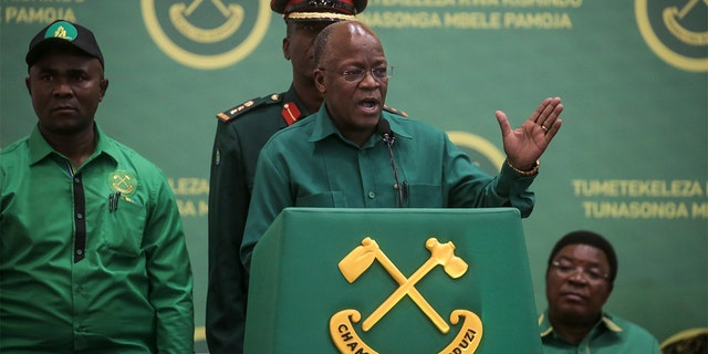 FILE - In this Saturday, July 11, 2020 file photo, President John Magufuli speaks at the national congress of his ruling Chama cha Mapinduzi (CCM) party in Dodoma, Tanzania. (AP Photo, File)