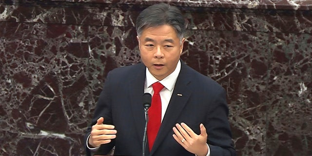 In this image from video, Rep. Ted Lieu, D-Calif., speaks during the second impeachment trial of former President Donald Trump in the Senate at the U.S. Capitol in Washington, Wednesday, Feb. 10, 2021. Lieu has requested $1 million in earmarks for homeless encampments in California. (Senate Television via AP)