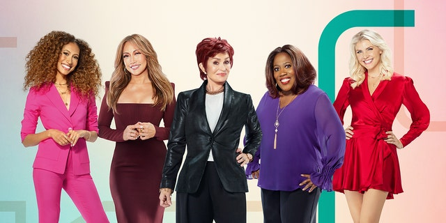 Sharon Osbourne, center forward  'Decided to leave' The Talk 'on March 26 after an airing with co-host Sheryl Underwood in purple (Randee St. Nicholas / CBS © 2021 CBS Broadcasting, Inc. All rights reserved).