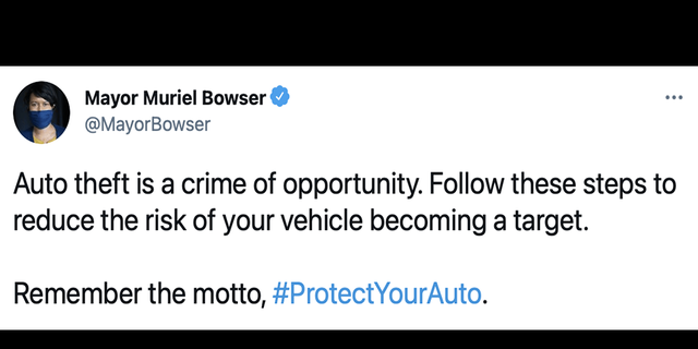 A screengrab of a now-deleted tweet by D.C. Mayor Muriel Bowser (Twitter)
