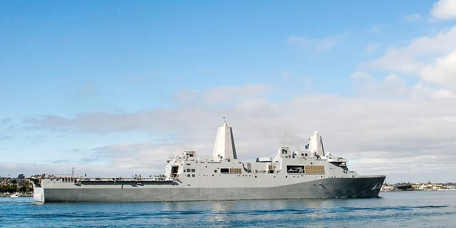 The amphibious transport dock ship USS San Diego sails in San Diego Bay in San Diego, California, in December 2012. (U.S. Navy/Mass Communication Specialist 2nd Class Jonathan P. Idle/AP)