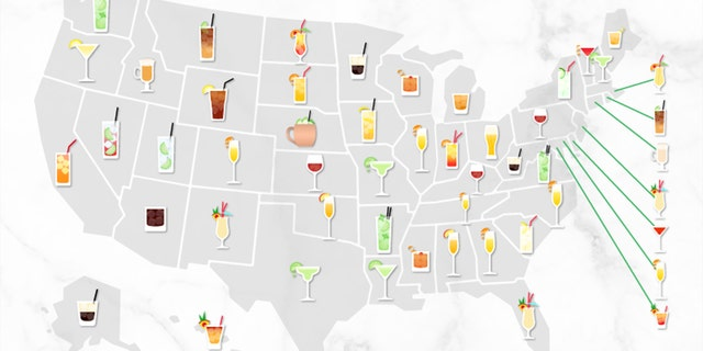 The most popular cocktails in the U.S. from March 2020 to March 2021 via Google Trends data, per Upgraded Points.