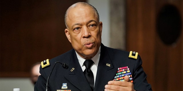 FILE PHOTO: Commanding General District of Columbia National Guard Major General William J. Walker answers questions during the Senate Homeland Security and Governmental Affairs/Rules and Administration hearing to examine the January 6, 2021 attack on the U.S. Capitol on Capitol Hill in Washington, U.S. March 3, 2021. Greg Nash/Pool via REUTERS/File Photo