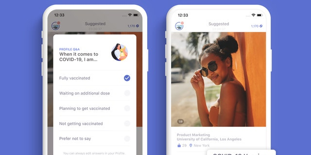Coffee Meets Bagel has a new vaccination feature on its app that lets users declare where they are in the process. (Coffee Meets Bagel).