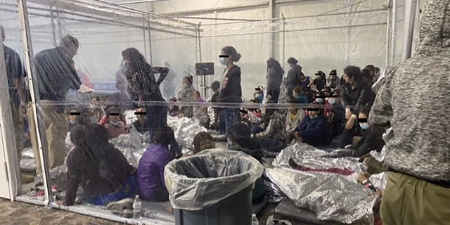 A photo of a CBP overflow facility for migrants in Donna, Texas.