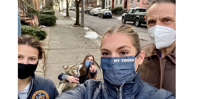 """Mariah Cuomo's Instagram reads, """"New Year same #nytough fam"""" from left to right, Cara, Michaela, Mariah and Gov. Andrew Cuomo."""