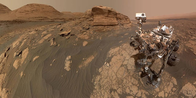"The panorama is made up of 60 images from the MAHLI camera on the rover's robotic arm along with 11 images from the Mastcam on the mast, or ""head,"" of the rover. Credits: NASA/JPL-Caltech/MSSS."
