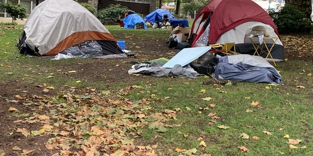 Part of a homeless camp in Seattle (Photo by Jason Rantz)