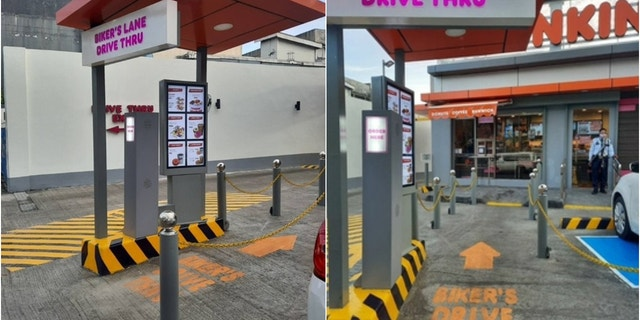 Dunkin' opened its first-ever bike-thru lane at one of its restaurants in Quezon City, Philippines, earlier this year.