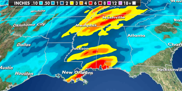 Expected rainfall totals through Friday this week. (Fox News)