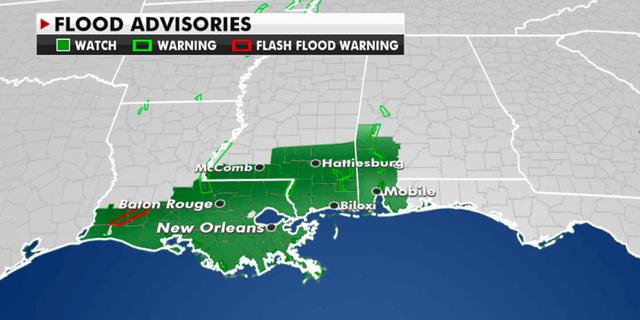 Current flood advisories in effect. (Fox News)