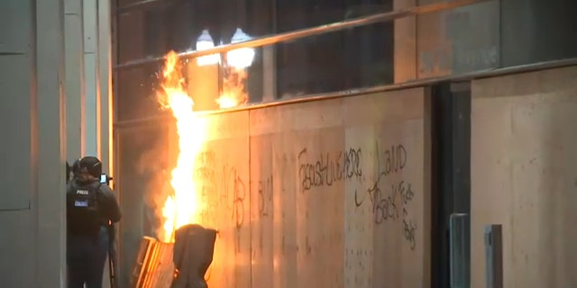A fire burns in Portland, Ore., on Thursday night. (FOX 12 Oregon)