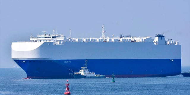 In this August 2020, photo, the vehicle cargo ship Helios Ray is seen at the Port of Chiba in Chiba, Japan. An explosion struck the Israeli-owned Helios Ray as it sailed out of the Middle East on Friday. (AP)