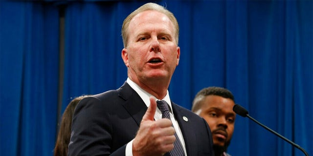 FILE: San Diego Mayor Kevin Faulconer talks during a news conference at the Capitol in Sacramento, Calif.
