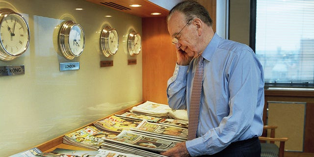 Rupert Murdoch photographed in his office at News International in London, in 2007.