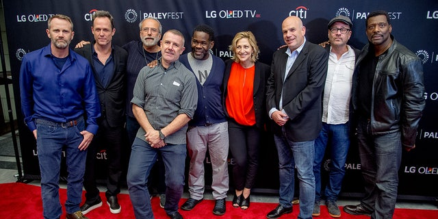 "Lee Tergesen, Dean Winters, Tom Fontana, Craig muMs Grant also known as muMs the Schemer, Edie Falco, David Simon, Terry Kinney and Eamonn Walker attend the PaleyFest NY 2017 ""Oz"" reunion at The Paley Center for Media on October 15, 2017 in New York City."
