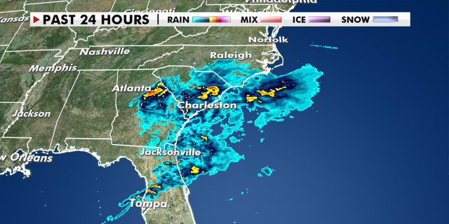 Precipitation in the Southeast over the last 24 hours. (Fox News)