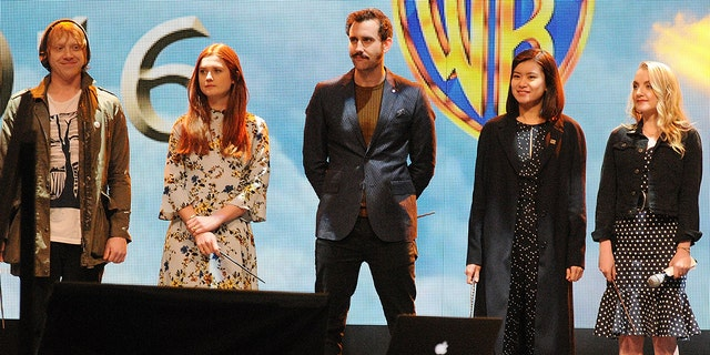 'Harry Potter' cast members, from left, Rupert Grint, Bonnie Wright, Matthew Lewis, Katie Leung and Evanna Lynch. (Getty Images)