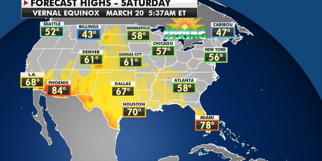 Expected high temperatures for Saturday. (Fox News)