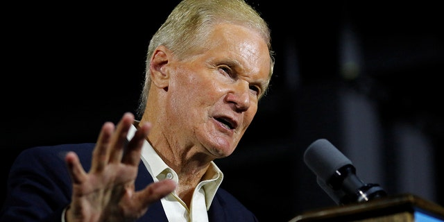 Senator Bill Nelson, D-Fla., speaks at a campaign event before being joined by Gubernatorial candidate Andrew Gillum and former President Barack Obama in Miami. Nov. 2, 2018. REUTERS/Joe Skipper
