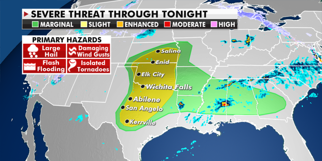The risk of severe weather through tonight. (Fox News)