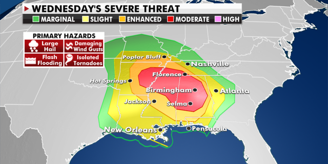 The risk of severe weather in the days ahead. (Fox News)