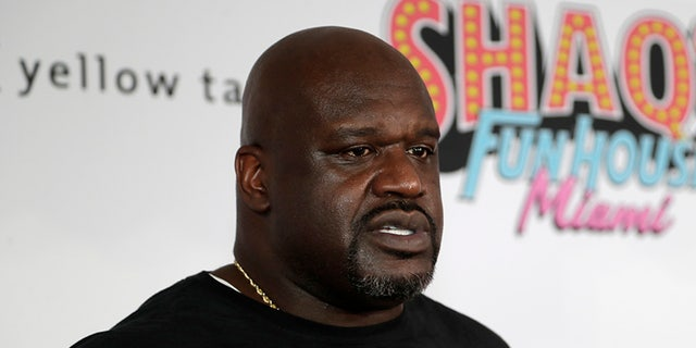 In this Jan. 31, 2020, file photo, former NBA player Shaquille O' Neal is interviewed on the red carpet for Shaq's Fun House in Miami.