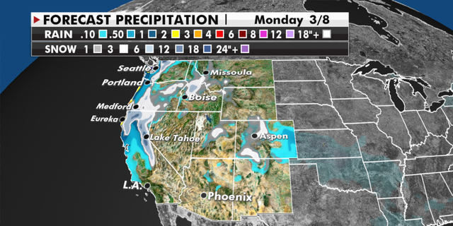 Expected precipitation totals for the West through Monday. (Fox News)