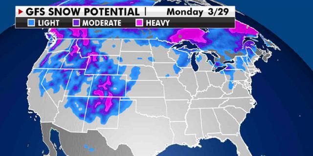 Expected potential snowfall through next week. (Fox News)
