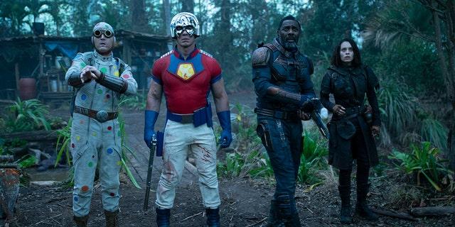 'The Suicide Squad' stars, from left: David Dastmalchian, John Cena, Idris Elba and Mikaela Hoover.