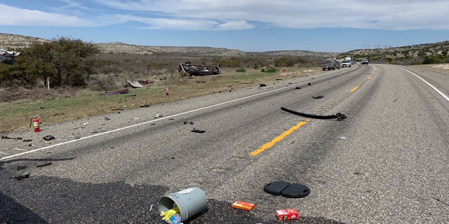 Debris is seen strewn along U.S. 277 following the crash Monday afternoon. (Texas Department of Public Safety)