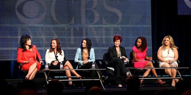 (L-R) Julie Chen, Leah Remini, Sara Gilbert, Sharon Osbourne, Holly Robinson Peete, and Marissa Jaret Winokur during 2010 Summer TCA Tour Day 1.